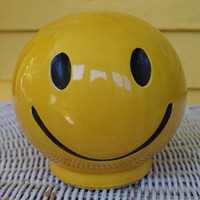 Vintage 1970s McCoy Pottery Happy Face Smiley Ceramic Bank