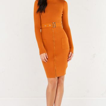 AKIRA Long Sleeved Sweater Midi Dress With Zippered Front and Attached Belt in Olive and Orange