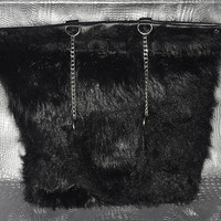 LYDIA - Vegan Black Leather and Faux Fur Purse with Chain ( Tote , Bag , Sustainable )