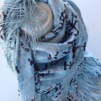 Light Blue Silk Square Shawl, Piano shawl, Birthday Gift, Abstract floral, Gift for mom, Holiday gift, Sparkle Bling scarf, Festive gift