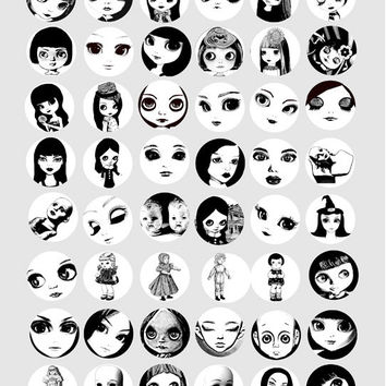big eyed dollys clip art digital download collage sheet graphics 1 INCH circles blythe doll printable black & white art for pendants magnets