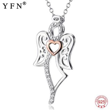 925 Sterling Silver Love Angel Pendants Necklaces Cubic Zirconia Fashion Jewelry Necklace Valentine's Gifts For Women GNX7728