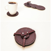 Leather Coaster Set of 4 Coasters Coaster set Drink Coaster Round Leather Coasters Saddle leather coasters