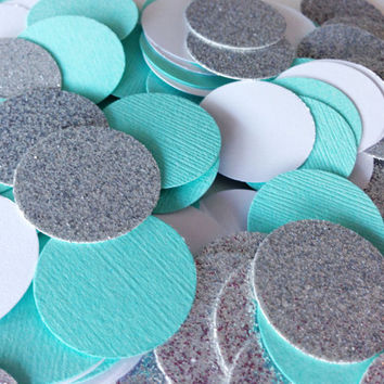 "150 Aqua / White / Silver Glitter Circle Confetti - 1 Inch - 1"" - Confetti for weddings, birthdays, parties and more!"