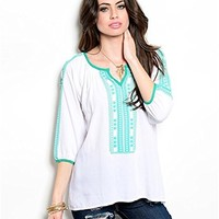 Independent Womens Peasant Boho Embroidered Blouse Long Sleeve Teal Mint White