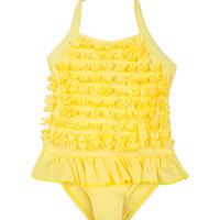 Yellow Ruffle One-Piece - Toddler & Girls