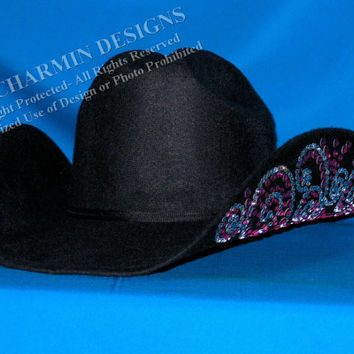 JCD- Just Charmin Designs- Crystal Bling Black Wool Western Cowg 34425e2ff79
