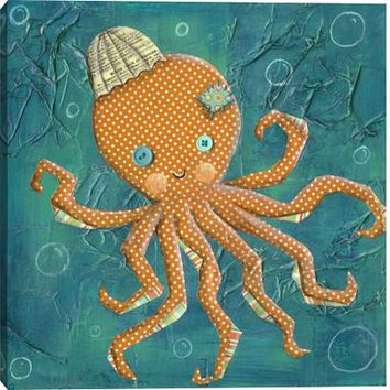 Octopus Children's Canvas Wall Art Print by Nessa Dee