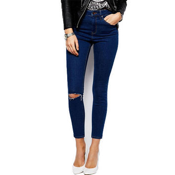 Denim ripped calca knee jeans