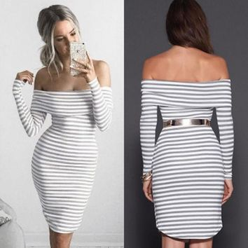 VONE05 Strapless Stripe Long Sleeve Tight Bodycon Mini Dress