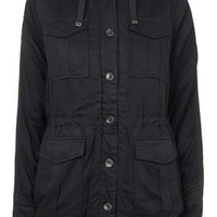 Faux Borg Lined Jacket - Navy Blue
