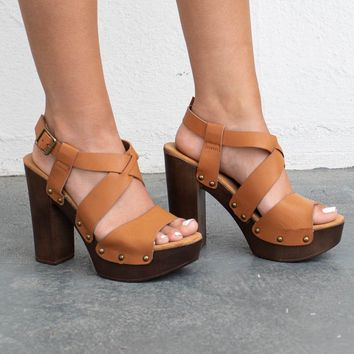 Round About Tan Criss Cross Strap Heels