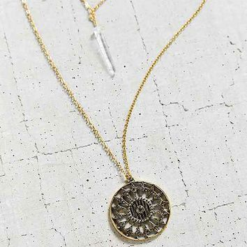 Charlie Crystal Charm High/Low Necklace- Gold One