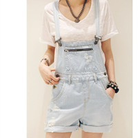 Blue 2016 Spring Summer Overalls Denim Shorts Women Simple Loose Fit  Bib Short  Casual Short Jeans Shorts Femme Feminino