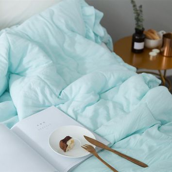 Solid Color Air/Sofa/Bedding Blanket For Bed Throws Simple Washed Cotton Modal Bubble Yarn Summer Quilt Soft Bedsheet