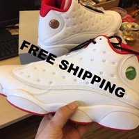 Free Shipping Nike Air Jordan 13 XIII History of Flight 13 WHITE RED 41457103 BASKETBALL SHOES