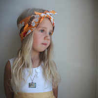 Autumn pumpkin spice  Bandana headband pumpkin orange brown - fall fashion autumn flowers Fabric Little girl headband