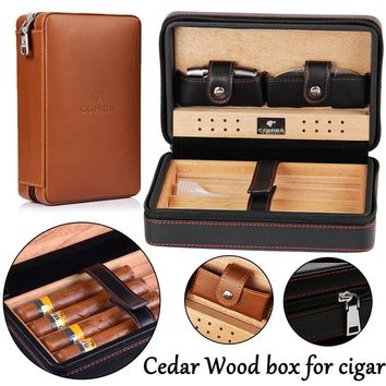 1set COHIBA Cigar Cedarwood Storage Box with Cigar Cutter Genuine Leather Cover Cigar Cedar wood Humidor Travel Kits Case