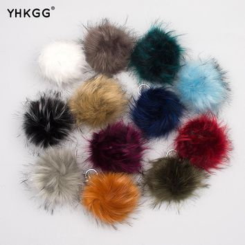 2017  12cm Soft Faux Raccoon Fur Pom Pom Ball for Knitting Hat Accessories KeyChain Accessory
