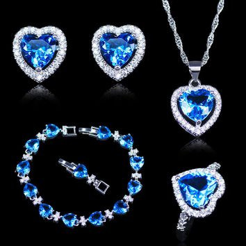 New Arrival Christmas Gift For Women Sky Blue Crystal White Zircon 925 Mark Silver Color Jewelry Sets Heart Bracelets Sets