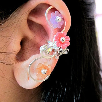 Multi Colors Wrapped Around Flowers And Bird Silver Ear Cuff Woodland Silver Wings Free Elegant Feminine Bling Nature