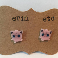 Handmade Plastic Fandom Earrings - Pokemon - Jigglypuff