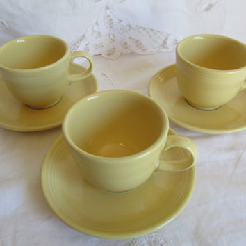 Vintage Yellow Fiestaware Cups and Saucers Set of Three