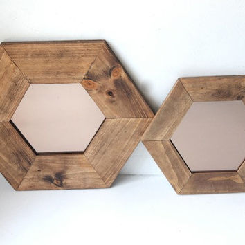 Set of Two Hexagon Mirrors - Copper Glass - Honeycomb Geometric Wood - Mid Century  Modern - Reclaimed Wood Mirror -  finished framed