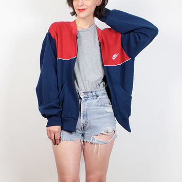 Vintage 1980s Nike Sweatshirt Navy Blue Red Swoosh Logo Embroidered Zipper Sporty 80s Sweatshirt Gray Tag Sweater Track Jacket M L Large