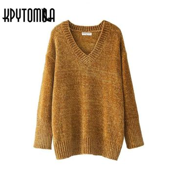 Vintage Chic Oversized Chenille Sweater Women 2017 New Fashion Europe Style V Neck Long Sleeve Loose Pullovers Casual Pull Femme