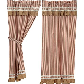 Kendra Stripe Red Short Panel Curtains