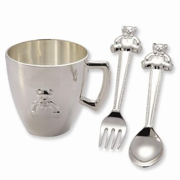 Silver-plated Baby Bear Feeding Set - Engravable Personalized Gift Item
