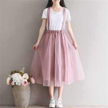 Class Rushed Knee-length Solid 2017 New Summer Clothing Art Retro Loose Size Body Suspenders Skirt Female All-match Gauze Women