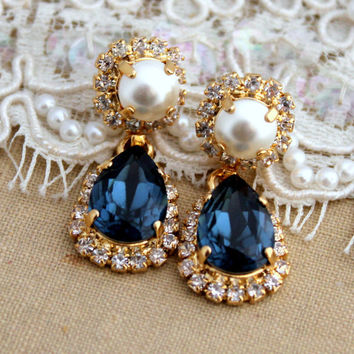 White pearl and blue denim crystal Chandelier earrings - 14 k plated gold earrings real Swarovski blue crystals.