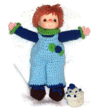 Blueberry Cupcake Small Yarn Doll  Made  With Vintage Head & Hands
