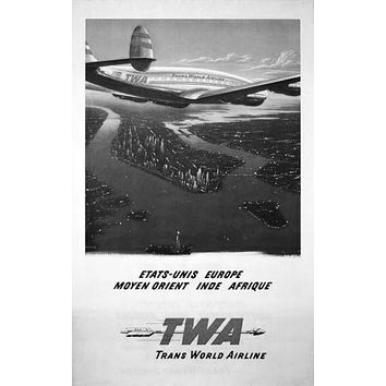 Twa Arilines Manhattan poster Metal Sign Wall Art 8in x 12in Black and White