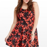 Plus Size Scuba Floral Print Flare Dress | Fashion To Figure