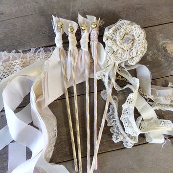 Shabby Cottage Wedding Party Wand Set, Linen & Lace Rhinestone Flower Bride's Wand with 4 Bridesmaid Bell Streamer Wands, Bridal Party