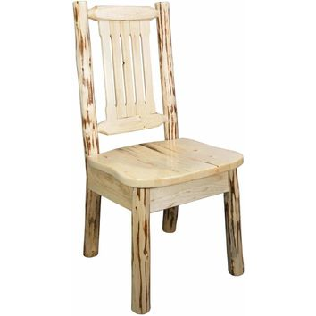 Montana Woodworks Montana Collection Side Chair, Clear Lacquer Finish w/ Ergonomic Wooden Seat