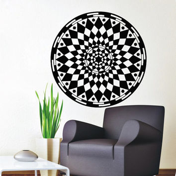 Flower Wall Decals Mandala Rhombus Om Yoga Pattern Oum Sign Living Room Interior Vinyl Decal Sticker Art Mural Bedroom Kids Room Decor MR374