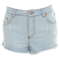 High Waist Bleach Wash Short - Jeans & Denim  - Apparel  - Miss Selfridge US