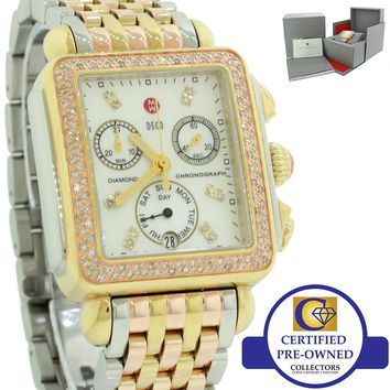 Michele Deco Tri-Tone Deco Diamond Watch with Gold Plated Stainless Steel B&P