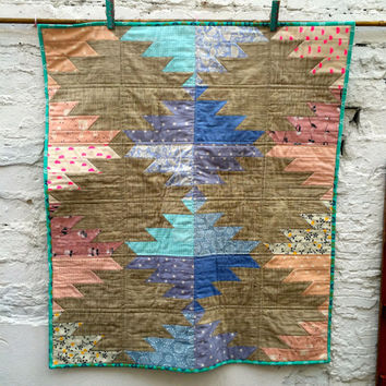 Modern Baby Quilt, Patchwork Aztec Design in Pink and Blue