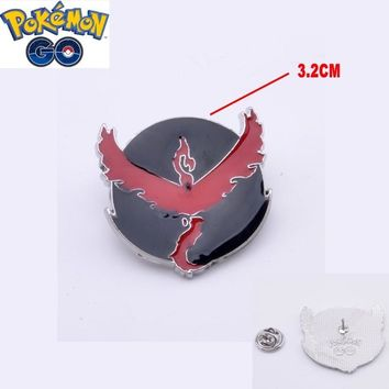 Mew  GO  Team Valor Badges Metal Pins with wooden Box Cosplay Collection Box Gift For Kids AdultKawaii Pokemon go  AT_89_9