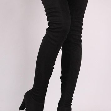 Wild Diva Lounge Suede Drawstring Chunky Heeled Thigh High Boots