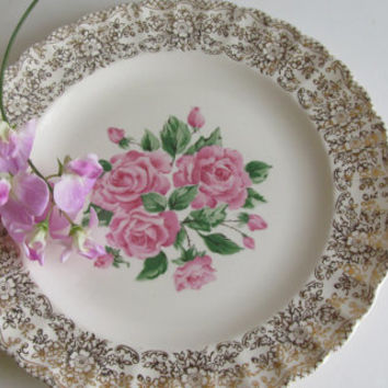 Art Deco Plate 22 Karat Gold Plate China Bouquet Pattern Floral Plate Made in Usa The Sebring Pottery Co Cabbage Rose Plate