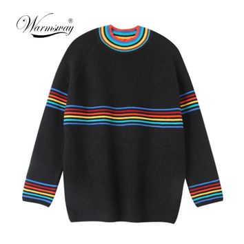 Women's Japanese Harajuku Cute Sweet Rainbow Stripe Loose Sweater Female Korean Kawaii Knitted Jumper And Pullover C-290