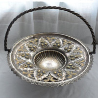 Antique Victorian Era Copper Silver Plate Repousse' Cake or Fruit Basket/Ornately Designed with Oak Leaves N Floral Repousse