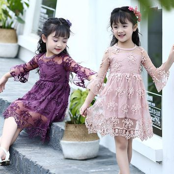 lace crochet flowers baby big girls summer dress Children clothing for 2 4 6 8 10 12 11 13 years kids beautiful girls dresses
