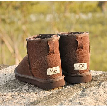 """UGG"" Women Fashion Wool Snow Boots Calfskin Shoes"